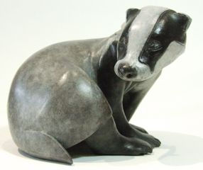 'Persecuted' Badger Maquette in patinated foundry bronze.