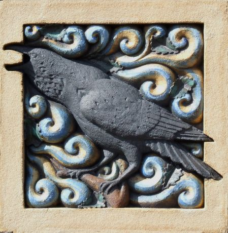 Raven Shouting Into The Wind bass relief ceramic sculpture
