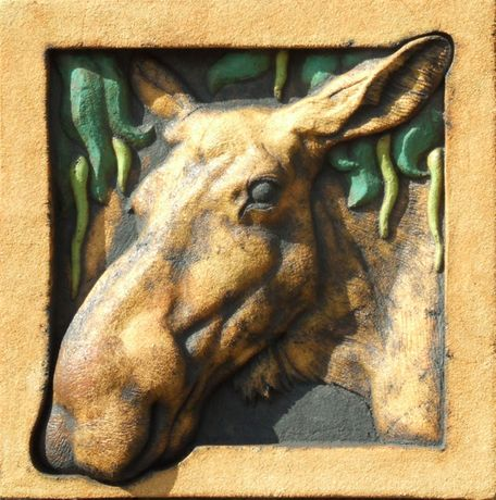 Moose Cow and Crack Willow bass relief wall hanging ceramic sculpture