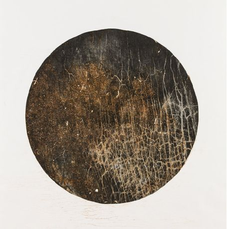 Ember 2014, photographic steel etching and rusted metal relief 990 x 700 mm
