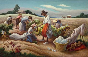 Thomas Hart Benton, Cotton Pickers, 1945.  Oil on canvas. 81.3 x 121.9 cm. Prior bequest of Alexander Stewart; Centennial Major Acquisitions Income and Wesley M. Dixon Jr. funds; Roger and J. Peter McCormick Endowments; prior acquisition of the George F. Harding © Benton Testamentary Trusts/UMB Bank Trustee/VAGA, NY/DACS, London 2016.