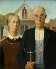 Grant Wood, American Gothic, 1930.  Oil on beaver board. 78 x 65.3 cm. Friends of American Art Collection 1930.934, The Art Institute of Chicago.