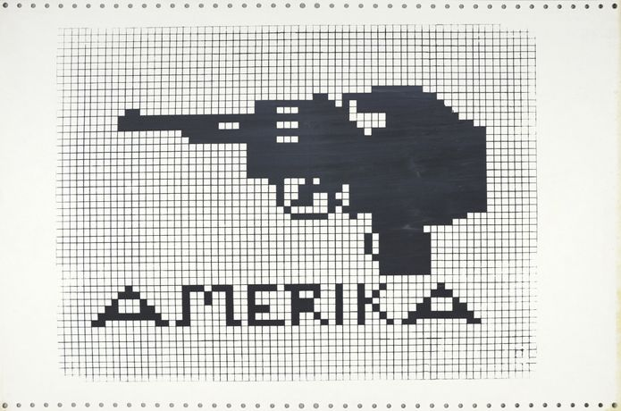 Amerika, 1970, Silkscreened in black across a strip of two sheets, conjoined computer paper with tractor strips, 38 x 56cm, Courtesy Shapero Modern