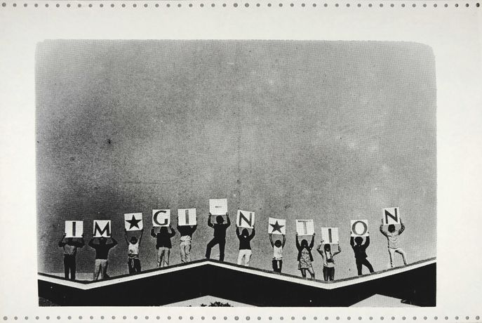 Imagi-Nation, 1970, Xeroxed in black and white across a strip of two sheets of early, conjoined computer paper with tractor strips, 38 x 56cm, Courtesy Shapero Modern