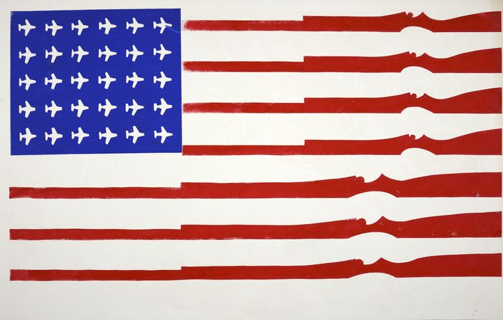 American Flag [Untitled], 1970, Silkscreen in blue and red on white stock, printed on the blank side of a Carson Morris calendar, 38 x 55cm, Courtesy Shapero Modern