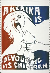 elloli (Jay), Amerika is Devouring Its Children, 1970, Silkscreened in red and blue across a strip of 2 sheets of early, conjoined computer paper with tractor strips, 38 x 56cm, Courtesy Shapero Modern