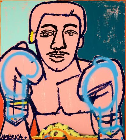 America Martin, Gold Belt Boxer, 2015, 49 x 45 inches