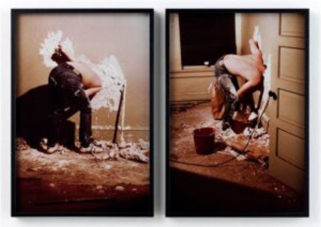 Paul McCarthy, Plaster Your Head and One Arm into a Wall, 1973/2005, Cibachrome photograph, 2 parts: 26 3/8 x 18 1/2 in (67 x 47 cm) each, Courtesy the artist and Hauser, Wirth and Schimmel