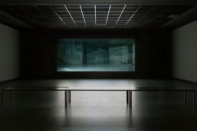Amie Siegel, Quarry, 2015, exhibition view, Haus der Kulturen der Welt, Berlin. Courtesy Simon Preston Gallery, New York.