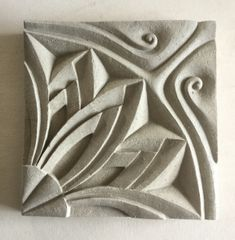 Title:  Carved Ceramic Tile.  Inspired by Indias rich architectural history and the ancient traditions of carving in stone and wood,  by Sarah Partridge.