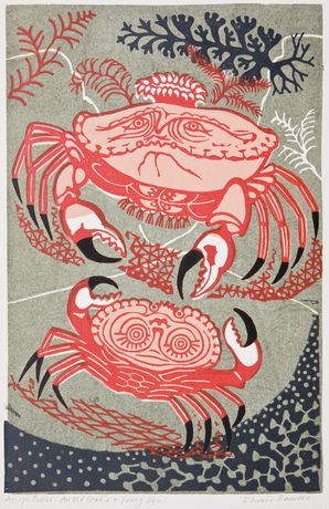Edward Bawden, An Old Crab and a Young (From Aesop's Fables), c. 1956, Linocut on paper, Pallant House Gallery, Chichester (The David Leslie Medd Bequest, 2009) © The Estate of Edward Bawden