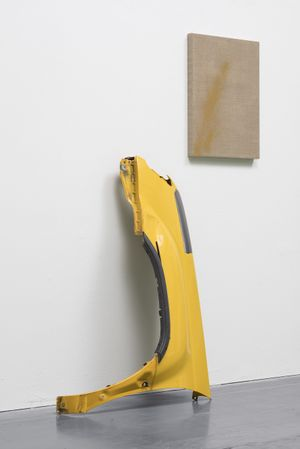 "Analia Saban Markings (from Nissan Xterra Quarter Panel), 2017 Sheet metal automobile quarter panel and scraped automobile paint on linen on panel, Overall installation dimensions: H: 69"" W: 52"" D:10"" © Analia Saban Courtesy Sprüth Magers Photo Timo Ohler"