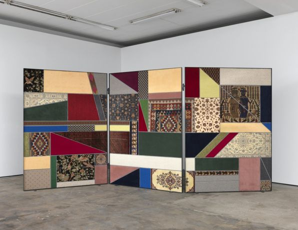 "Nevin Aladağ, ""Paravent, Social Fabric #1"", 2012. Collage with carpets, 250 × 552 × 4 cm  Photo: Trevor Good. Courtesy: the artist, Wentrup, Berlin"