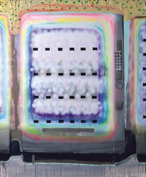 Mingfei Cui, Vending Machine 2 (detail), 2015, Oil, acrylic, and collage on canvas, 56 x 68 in.