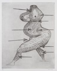 Louise Bourgeois, 'Sainte Sébastienne'1992. Drypoint on Somerset Satin paper, edition of 50, 120.5 x 94.3 cm (paper size). Image courtesy Marlborough, London and Ingleby, Edinburgh.