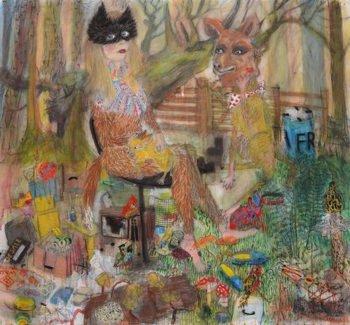 Freya Pocklington: Nicole in The Woods and Her Pet Dog, 2014, Conté & ink on paper, 135 x 145 cm