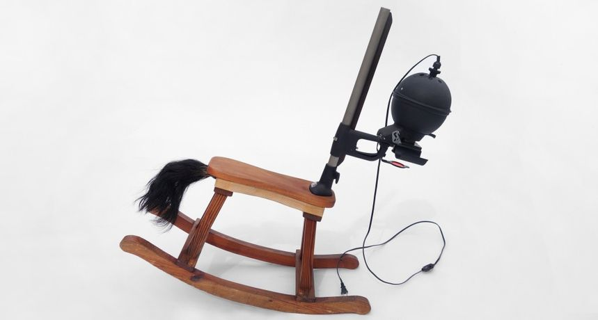 Charger, 2016  Rocking horse, photo enlarger and fly whisk  42 x 35 x 14 inches