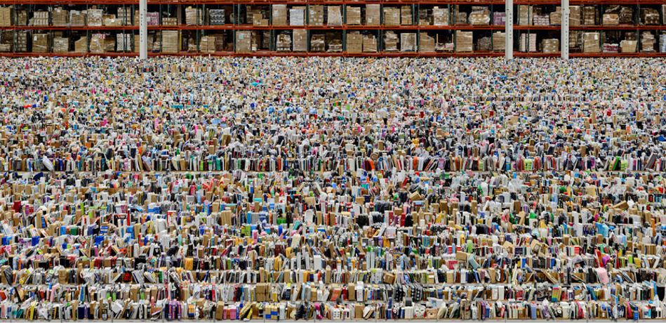Andreas Gursky, Amazon, 2016, inkjet print, 81 1/2 × 160 1/4 × 2 7/16 inches framed (207 × 407 × 6.2 cm) © Andreas Gursky/Artist Rights Society (ARS), New York/VG Bild-Kunst, Bonn