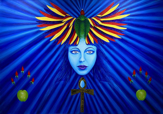 The Goddess of 10,000 names manifesting the blue healing ray, acrylic and gold leaf on linen by Andrew Flint Shipman