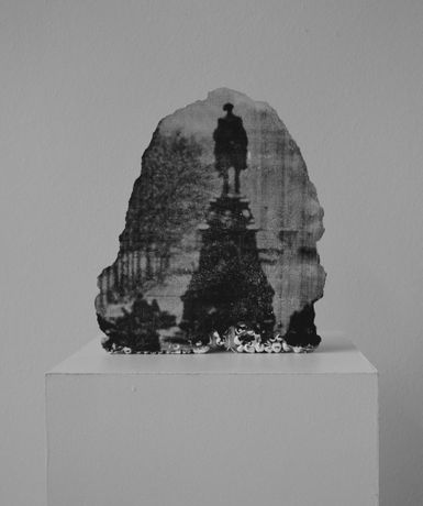 Andrew Gillespie,Rocky Monument, 2015, silkscreen on cast concrete, 30x20x5cm. Courtesy the artist.