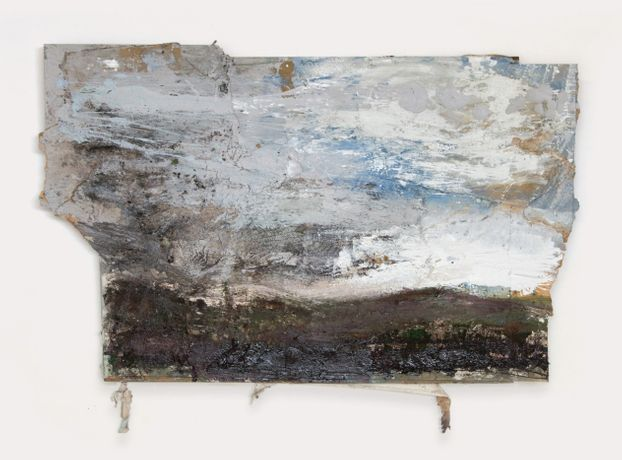 Valley, Two Hills, Wind, Clouds mixed media on canvas and board . 123 x 192 cm