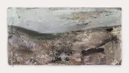 Valley, Light Blue Sky, Cloud mixed media on board . 123 x 245 cm
