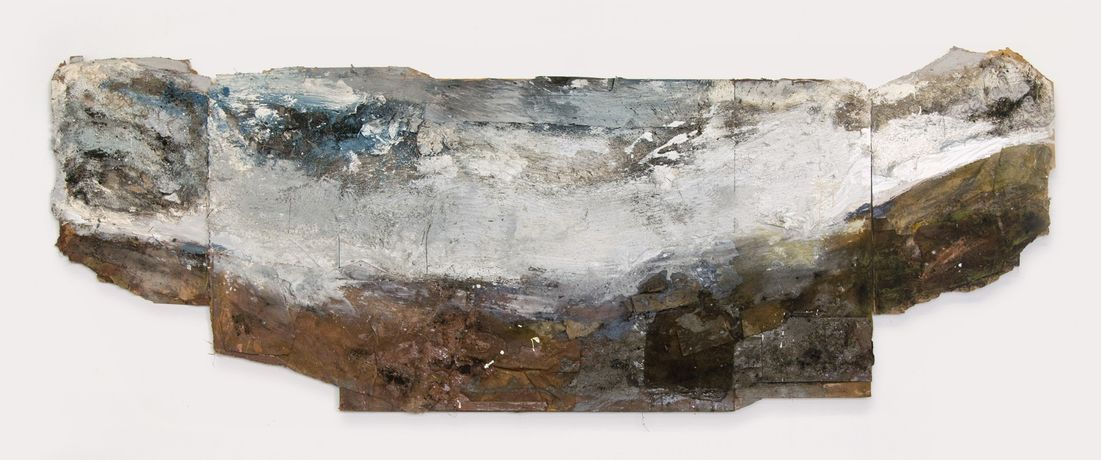 Valley, Wind, Cloud mixed media on board . 137 x 380 cm