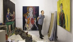 Andrew Litten in his studio, 2018