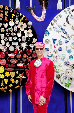 Andrew Logan and some of his jewellery - photo credit Madame Periperie