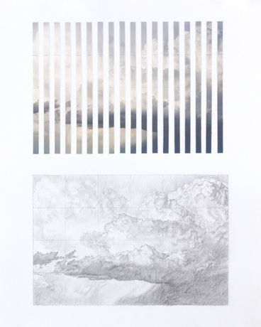 Andrew Szobody, Untitled (Cloud Copy #2), 2016, Graphite and collage on paper, 15 x 12 in.