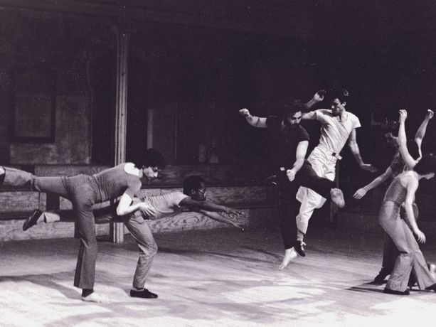 Photo: Harry Sheppard, Frank Conversano, and Michael Kuhling in Andy de Groat's get wreck, 1978, at Danspace Project © Lois Greenfield