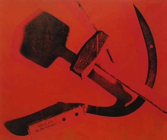 Andy Warhol Hammer & Sickle, 1976 acrylic and silkscreen on primed canvas 72 x 86 inches (182.9 x 218.4 cm.) © Andy Warhol Foundation for the Visual Arts, Inc. / Artists Rights Society (ARS), New York, 2015.