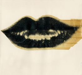 Lips, c. 1975 Unique Screenprint and Tape Collage 8 x 8.5 inches  (AW-L 21)