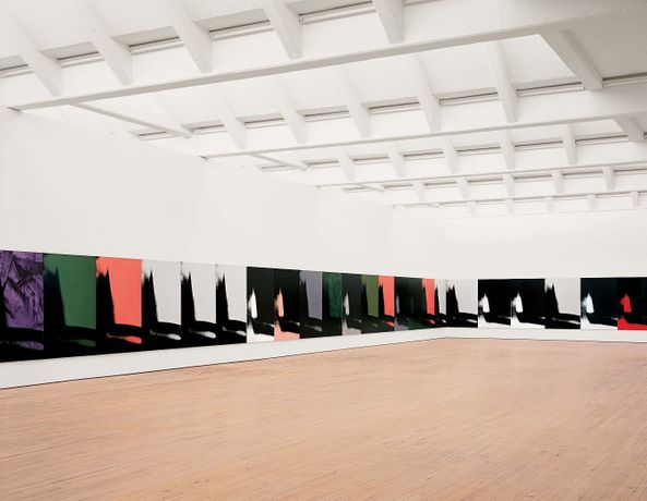 Shadows, 1978-79 Acrylic on canvas 102 paintings on canvas (all unframed) Each canvas: 193 x 132 x 2.9 cm Dia Art Foundation Installation view, Dia: Beacon, Beacon, New York. © 2015, The Andy Warhol Foundation for the Visual Arts, Inc. / VEGAP Photo: Bill Jacobson