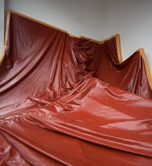 Angela de la Cruz, Larger Than Life (Knackered), 2004-2015. Installation at Galerie Thomas Schulte, Berlin, 2015. Courtesy Angela de la Cruz and Galerie Thomas Schulte