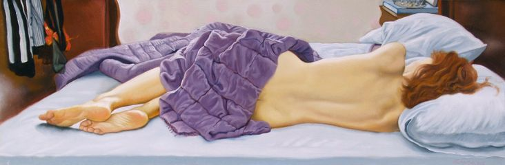 Fanny sleeping backview (2015), oil on board © Anthony Christian