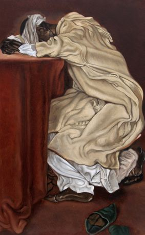 Sleeping Mannequin (2014), oil on board, 19.5 x 12 in. © Anthony Christian