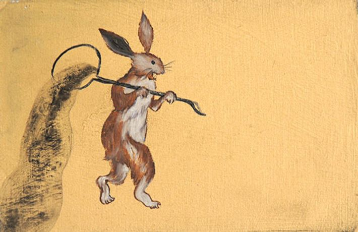Play Rabbit, Rui Matsunaga, 2012, Oil and acrylic on board, 9.5 x 15 cm