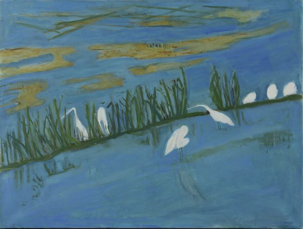 Egrets, 2017, oil on canvas, 91 x 122cm