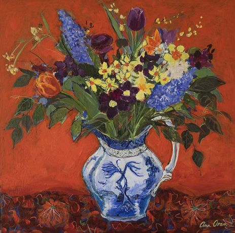 Ann Oram, Spring Flowers on a Red Ground