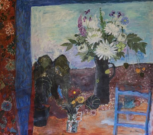 Ann Oram, Still Life with Flowers and Blue Chair