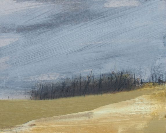 Field Boundary by Anna King. Oil and pencil on paper and board, 26 x 32 cm.