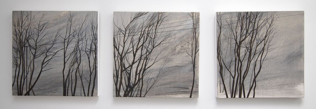 Bare Trees with Power Lines by Anna King. Oil and pencil on paper and board,