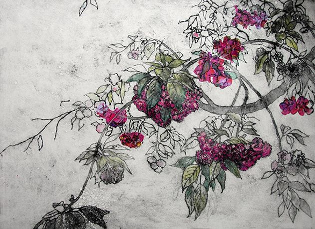Cherry Blossom, Collagraph by Anna Perlin