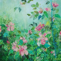 Tangled Dog Roses, Mixed Media by Anna Perlin