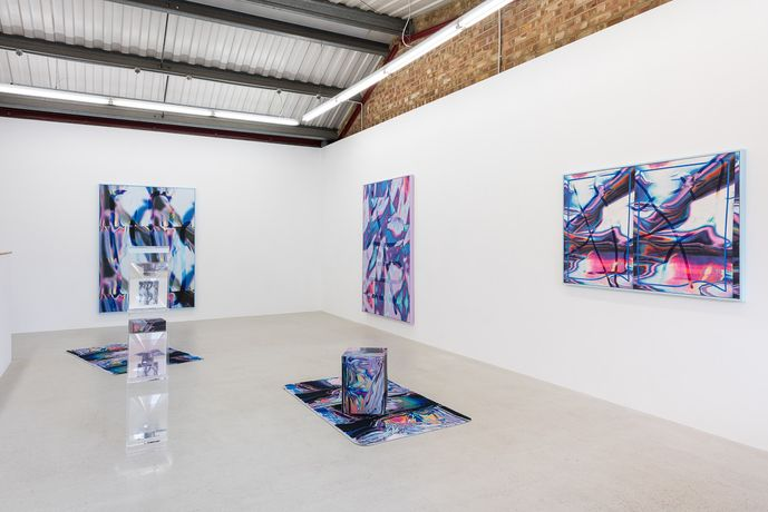 Installation view of Anne Vieux 'mesh' at Annka Kultys Gallery, London, 2017. Photo: Damian Griffiths
