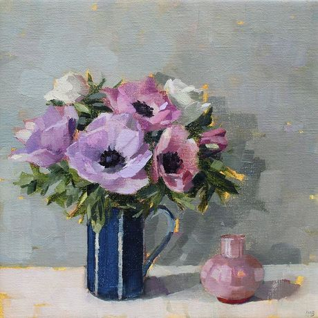 Anne-Marie Butlin, Lilac Anemones & pink vase