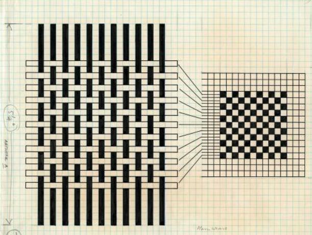 Anni Albers   Diagram showing draft notation (plain weave), Plate 10 from On Weaving, 1965 Ink on pencil on gridded paper 27.8 x 21.6 cm The Josef and Anni Albers Foundation, Bethany CT Photo: Tim Nighdwander/Imaging4Art ©The Josef and Anni Albers Foundation, VEGAP, Bilbao, 2017