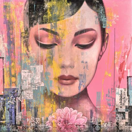 Francois Fressinier, La Vie en Pink, oil and mixed media on canvas, 50 x 50 inches