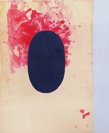 Anonymous tantric painting, Shiva Linga; Chômu, Rajasthan, 2014, unspecified paint on found paper, 14 x 11 1/2 in